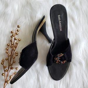 Enzo  Angiolini black velvet heels and stones